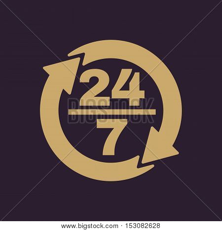 The 24 7 icon. Open and assistance, support symbol. Flat Vector illustration. Button