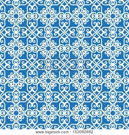 Vector seamless texture with white vegetable or mosaic patterns on a blue background