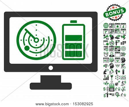Radar Battery Control Monitor icon with bonus calendar and time service pictures. Glyph illustration style is flat iconic symbols, green and gray colors, white background.