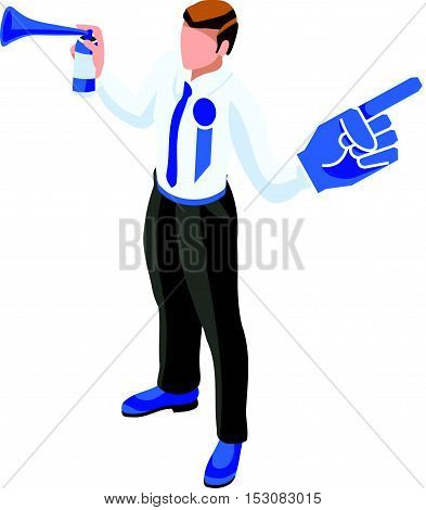Election Infographic Cheering Supporters Vector Isometric People