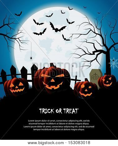 Trick or treat. Halloween poster. Blue night background. Vector illustration.