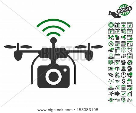 Radio Camera Drone pictograph with bonus calendar and time management icon set. Glyph illustration style is flat iconic symbols, green and gray colors, white background.