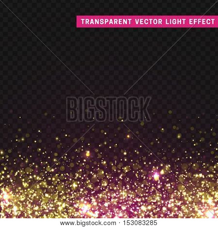 Transparent vector light effect pink, yellow. Glitter particles, shining stars , space background. Bright design element, pink luxury greeting card