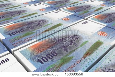 Comorian franc bills stacks background. 3D illustration.