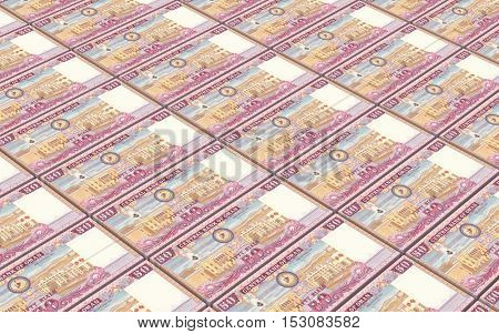 Omani rials bills stacked background. 3D illustration.