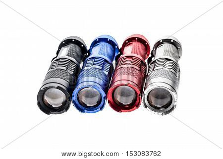 Aluminium Metal Led Flashlight Torch Isolated On White Background.
