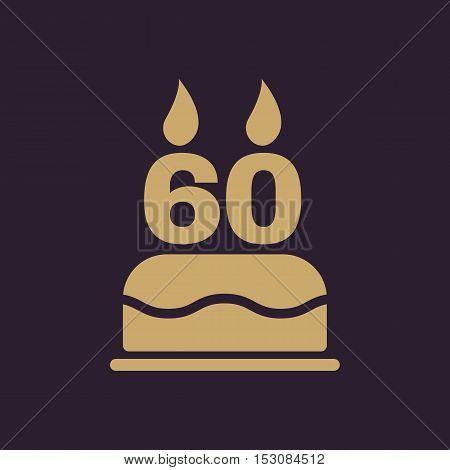 The birthday cake with candles in the form of number 60 icon. Birthday symbol. Flat Vector illustration