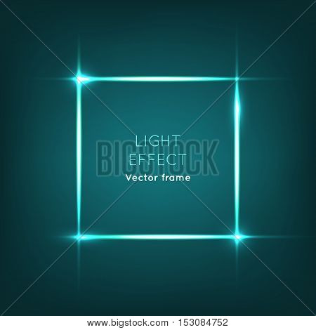 Vector frame. Light effect on dark blue background. Sparkle panel with glowing stars in corners, light flashes, shiny glitter. Spotlight. Illuminated business banner for logo, advertisement, billboard