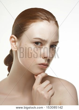 Emotional Beauty Portraits Red-haired Girl.