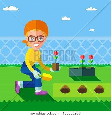 Garden. This woman planting flowers. In the flat style. Eps8.