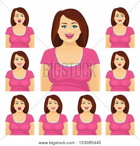 Attractive Plump Brunette Woman With Different Facial Expressions Set. Vector Cartoon Character On W