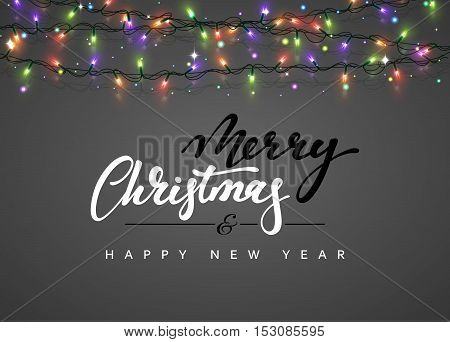 Merry Christmas and happy New Year Lettering label. Glowing Christmas Lights for Xmas Holiday Greeting Cards Design. Glowing lights Garlands Xmas Holiday greeting card design