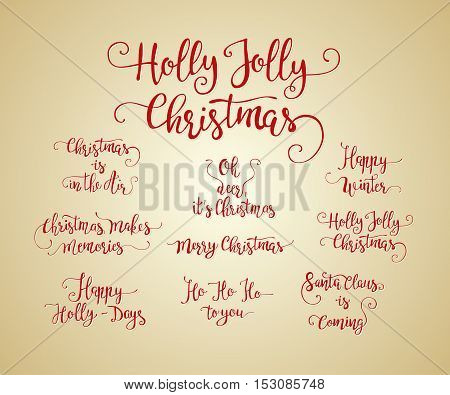 Vector set of handdrawn Christmas lettering. Unique calligraphy Xmas vector illustrations.