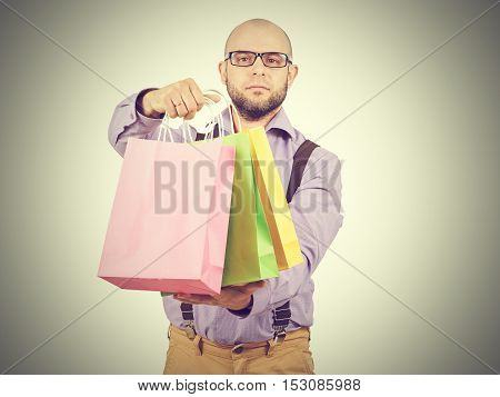 Man  With Colorful Shopping Paper Bags
