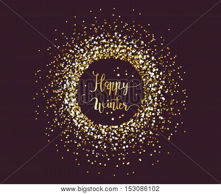 Vector handdrawn Christmas lettering with gold glitter particles for luxury greeting rich card. Winter is coming.