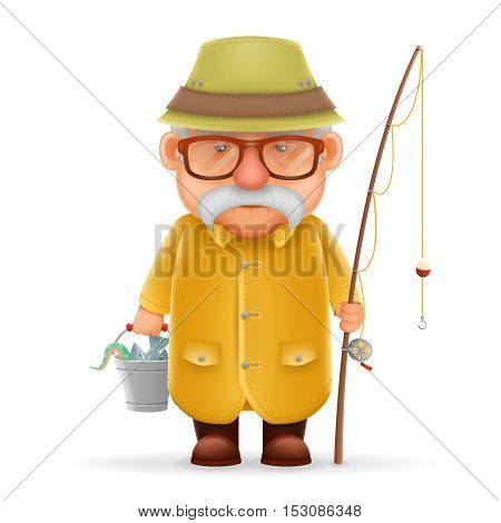 Old Fisherman and Grandfather 3d Realistic Cartoon Character Design Isolated Vector Illustration