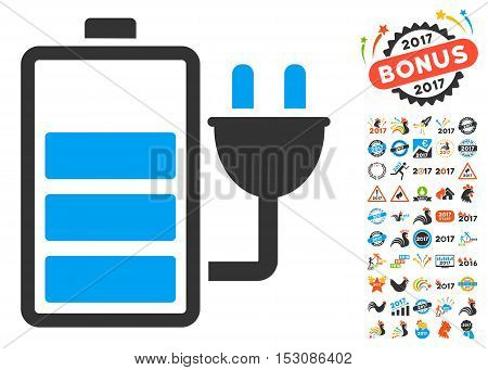 Charge Battery pictograph with bonus 2017 new year pictograms. Glyph illustration style is flat iconic symbols, blue and gray colors, white background.