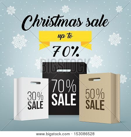 Colorful paper shopping bags with discount sign on a light grey background - Christmas Sale VECTOR. Paper shopping bag with sale promotion. Super sale banner. Special offer sale tag discount symbol