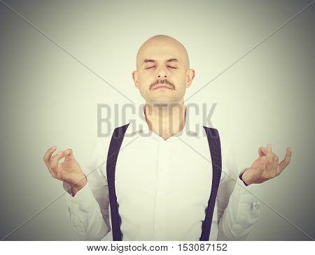 Bald Male, In Meditation Pose, Relaxing, In Zen,
