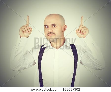 Mustache Bald Man Shows Finger Up