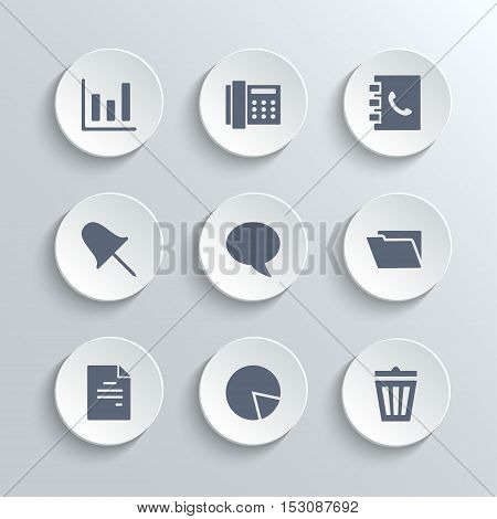 Web icons set - vector white round buttons with diagram fax phonebook pin speech bubble document chart trash can and folder symbols