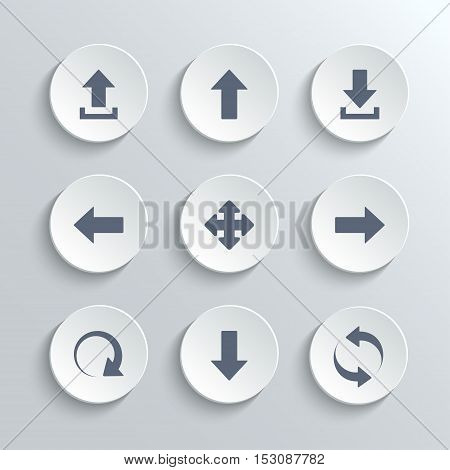 Arrows icons set - vector white round buttons