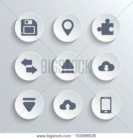 Web icons set - vector white round buttons with pin puzzle synchronization up down arrows cloud download upload phone diskette