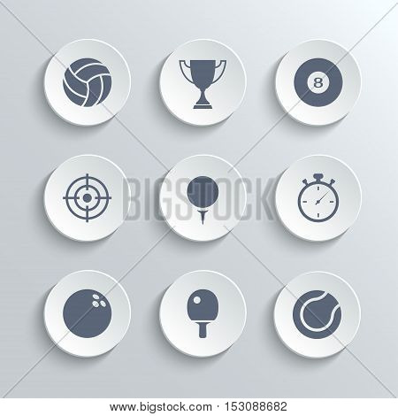 Sport icons set - vector white round buttons with volleyball trophy cup billiard golf stopwatch bowling ping pong tennis