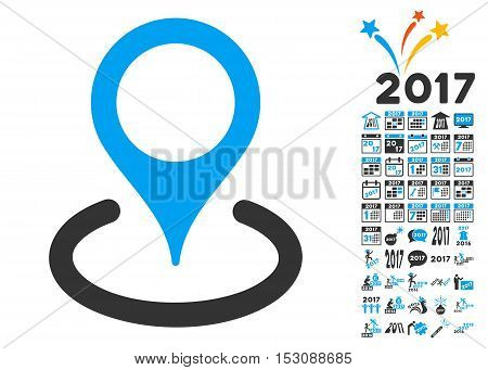 Location pictograph with bonus 2017 new year clip art. Glyph illustration style is flat iconic symbols, blue and gray colors, white background.