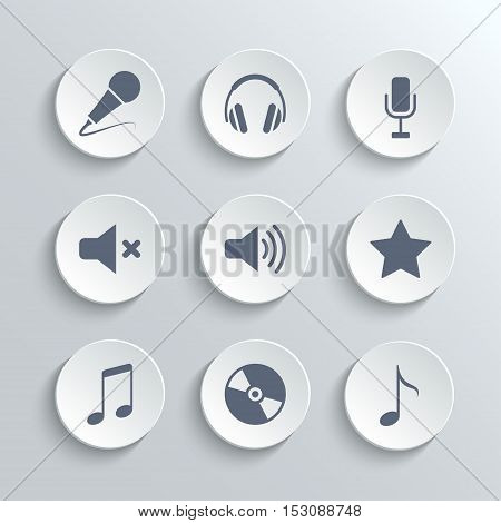 Media icons set - vector white round buttons with microphone retro classic headphones mute volume star music note disc