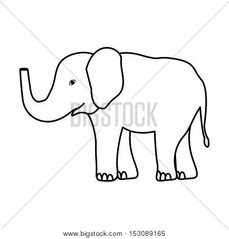 silhouette elephant jungle and wildlife animal icon over white background. vector illustration