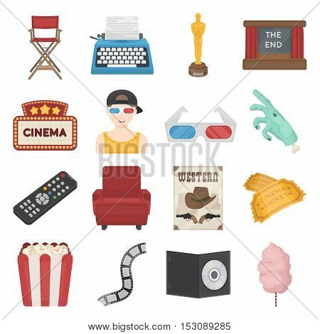 Films and cinema set icons in cartoon style. Big collection films and cinema vector symbol stock