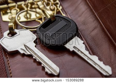 The keys are in the housekeeper of genuine leather. Two keys.