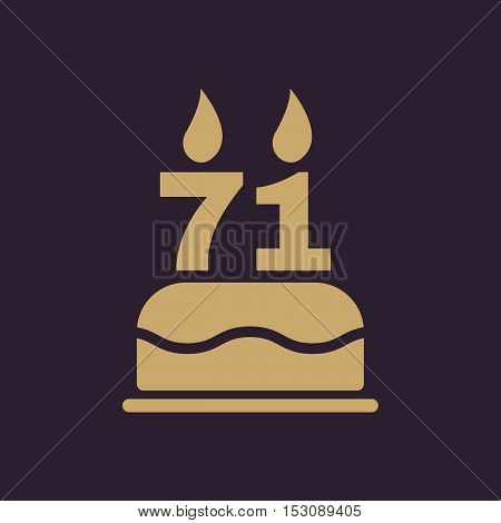 The birthday cake with candles in the form of number 71 icon. Birthday symbol. Flat Vector illustration