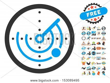 Radar pictograph with bonus 2017 new year icon set. Glyph illustration style is flat iconic symbols, blue and gray colors, white background.