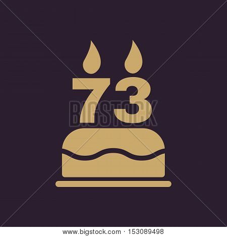 The birthday cake with candles in the form of number 73 icon. Birthday symbol. Flat Vector illustration