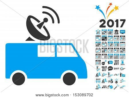 Radio Control Car icon with bonus 2017 new year images. Glyph illustration style is flat iconic symbols, blue and gray colors, white background.