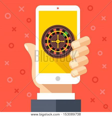 Hand holding smartphone with casino roulette wheel on screen. Gambling, casino app graphic design concepts. Flat design vector illustration