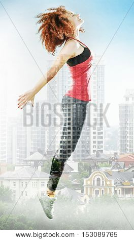 Attractive woman doing exercises on grey background