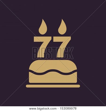 The birthday cake with candles in the form of number 77 icon. Birthday symbol. Flat Vector illustration