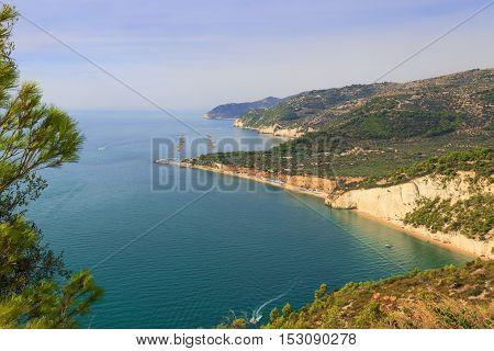 Gargano coast: Mattinatella or Fontana delle Rose beach.MATTINATA (Apulia) - ITALY-The Mattinatella beach holds two adjoining beaches,separated by a 100m wide rock.