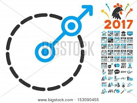 Round Area Exit pictograph with bonus 2017 new year design elements. Glyph illustration style is flat iconic symbols, blue and gray colors, white background.