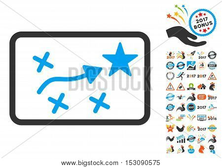Route Plan pictograph with bonus 2017 new year pictograms. Glyph illustration style is flat iconic symbols, blue and gray colors, white background.