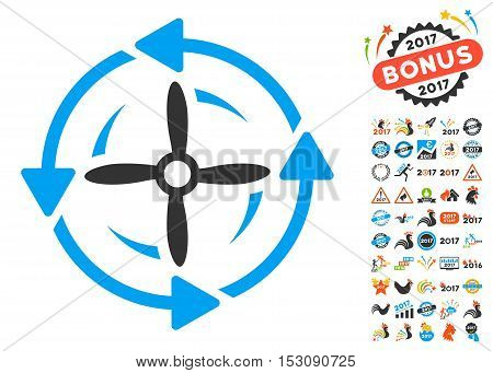 Screw Rotation pictograph with bonus 2017 new year pictograms. Glyph illustration style is flat iconic symbols, blue and gray colors, white background.