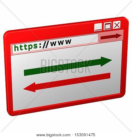 Web Browser window isolated on white background. 3D rendering.