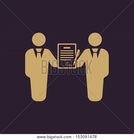 The contract icon. Agreement and signature, pact, partnership, negotiation symbol. Flat Vector illustration
