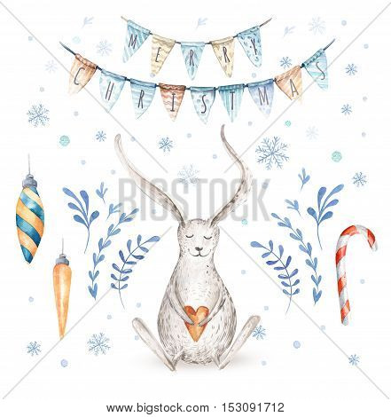 Watercolor hand drawn christmas cute illustrations gift collection with rabbit amd letering. Christmas set for scrapbook, card, invitation. Cute winter isolated bunny set.