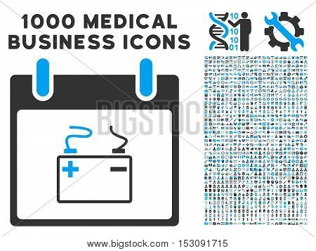 Blue And Gray Accumulator Calendar Day glyph icon with 1000 medical business pictograms. Set style is flat bicolor symbols, blue and gray colors, white background.