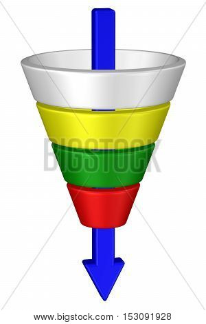 Concept: purchase funnel with arrow isolated on white background. 3D rendering.