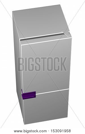 White refrigerator with purple handle isolated on white background. 3D rendering.